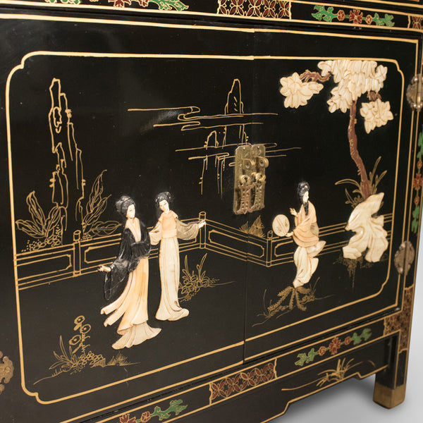 Late 20th Century Japanese Cabinet, Soap Stone Decoration