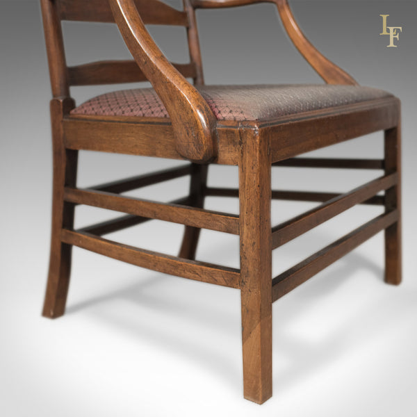 Late Georgian Antique Elbow Chair, English, Chippendale Overtones to Lower Frame