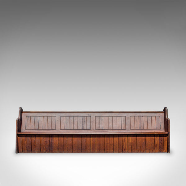 Long 10 foot Antique Pew, English, Pitch Pine, Bench, Seat 7-8, Victorian c.1880