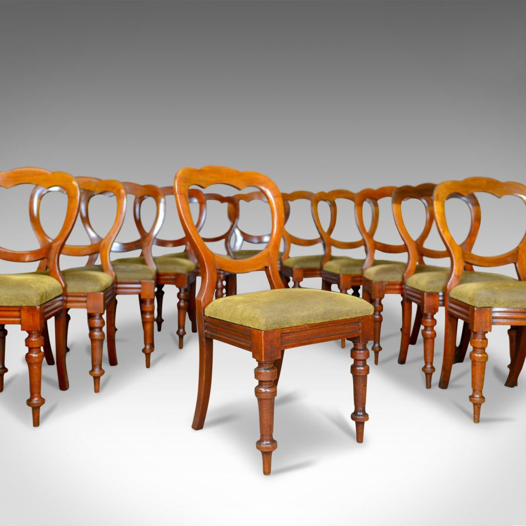 Long Set of 12 Antique Dining Chairs, English, Victorian, Balloon Back, c.1850
