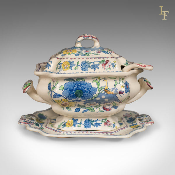 Mason's Ironstone China Soup Tureen, Under-Plate and Ladle, Regency Design, c.1940