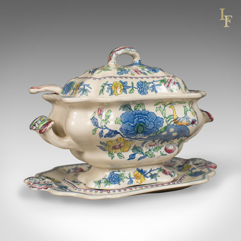 Mason's Ironstone China Soup Tureen, Under-Plate and Ladle, Regency De – London Fine Antiques