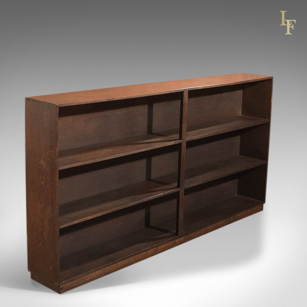 Mid Century Open Bookcase, English Oak - London Fine Antiques