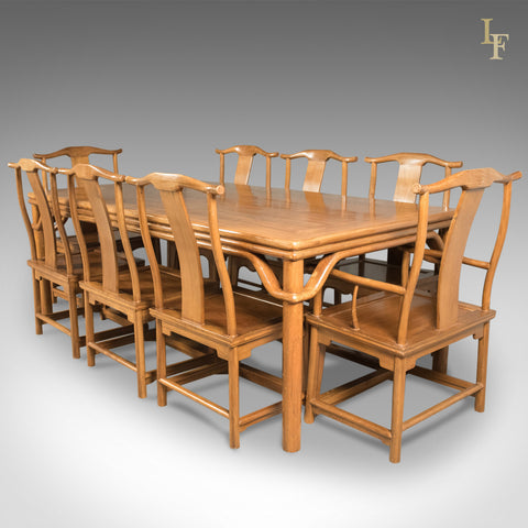 Mid-Century Chinese Table & 8 Chairs in Traditional Taste