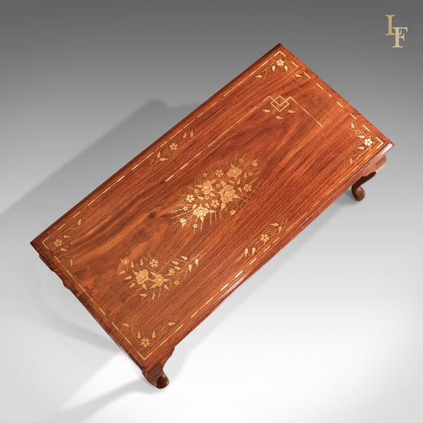 Mid-Century Coffee Table, Inlaid Asian Walnut - London Fine Antiques