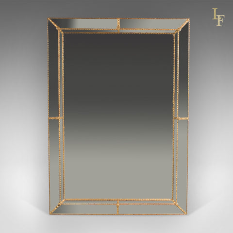 Mid-Century Georgian Revival Wall Mirror, Cushioned with Recessed Plate - London Fine Antiques
