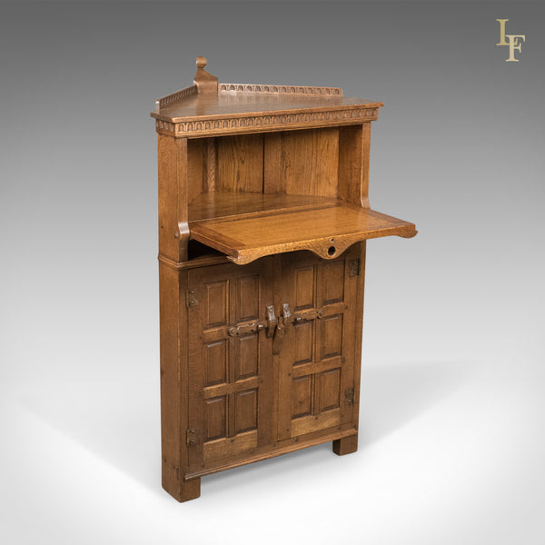 Mid-Century Carved Oak Corner Cupboard, Cabinet with Gothic Overtones