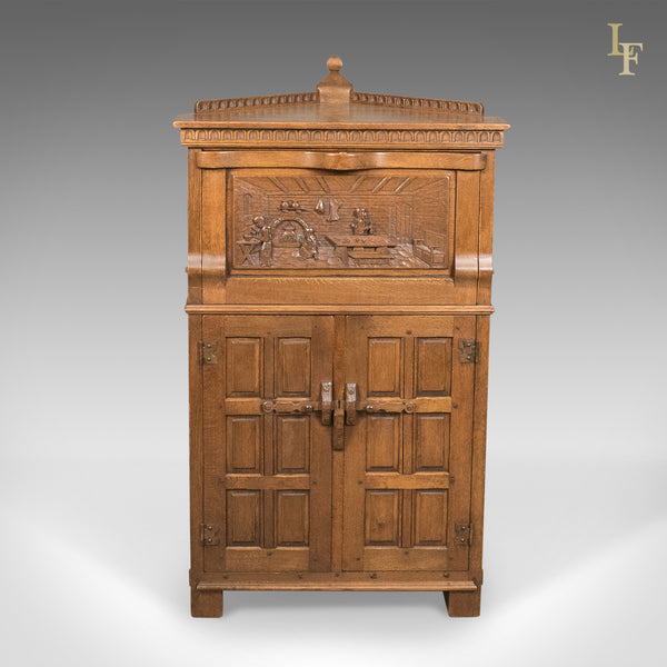 Mid-Century Carved Oak Corner Cupboard, Cabinet with Gothic Overtones - London Fine Antiques