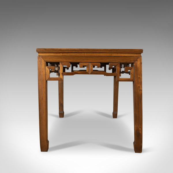 Mid-Century Chinese Elm Feature Table, Dining Proportions, Carved Decoration
