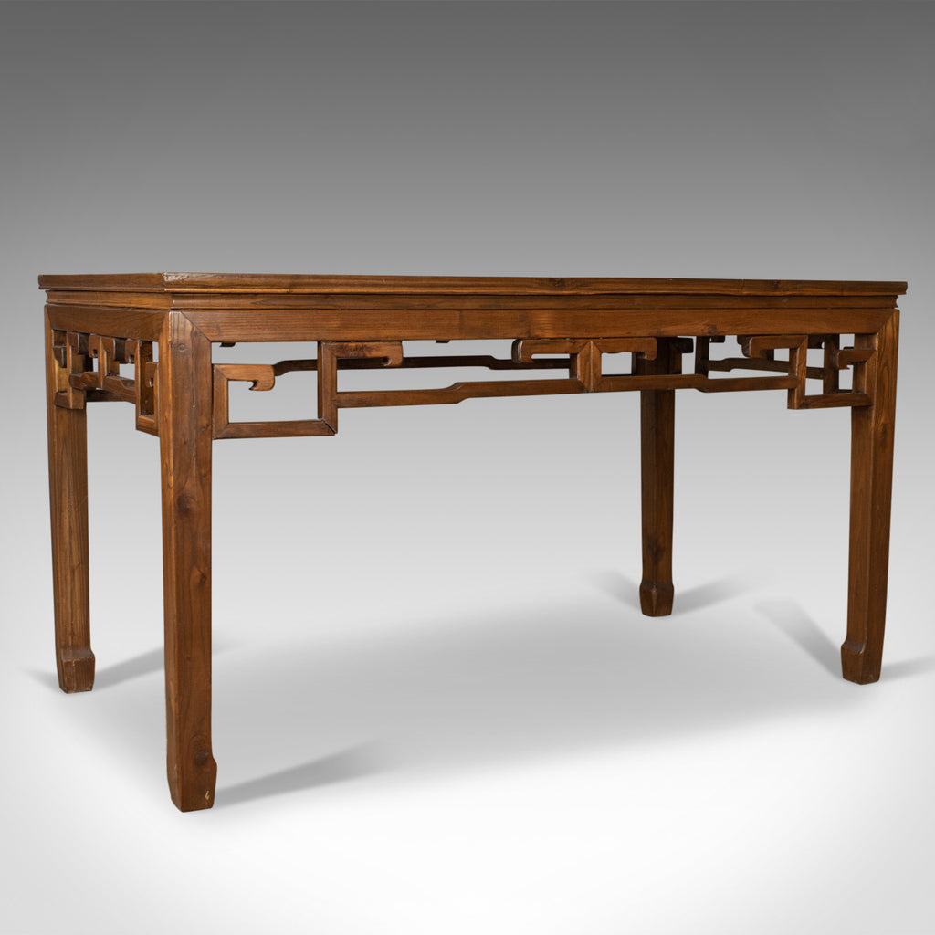 Mid-Century Chinese Elm Feature Table, Dining Proportions, Carved Decoration - London Fine Antiques