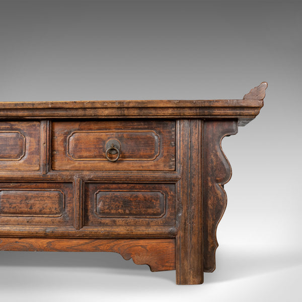 Mid-Century Chinese Elm Low Cabinet-Seat, Broad Bench, Storage 20th Century - London Fine Antiques