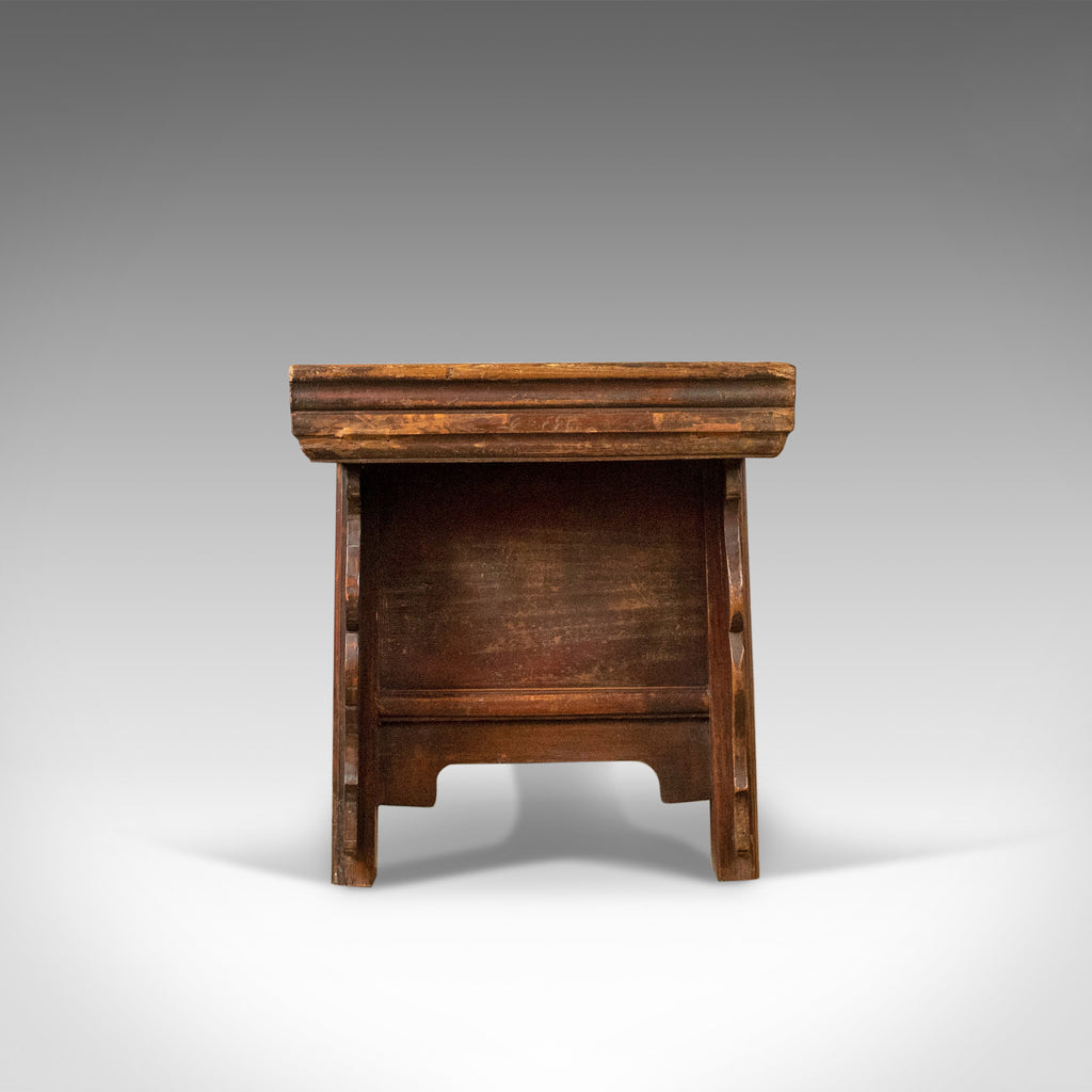 Mid Century Chinese Elm Low Cabinet Seat Broad Bench