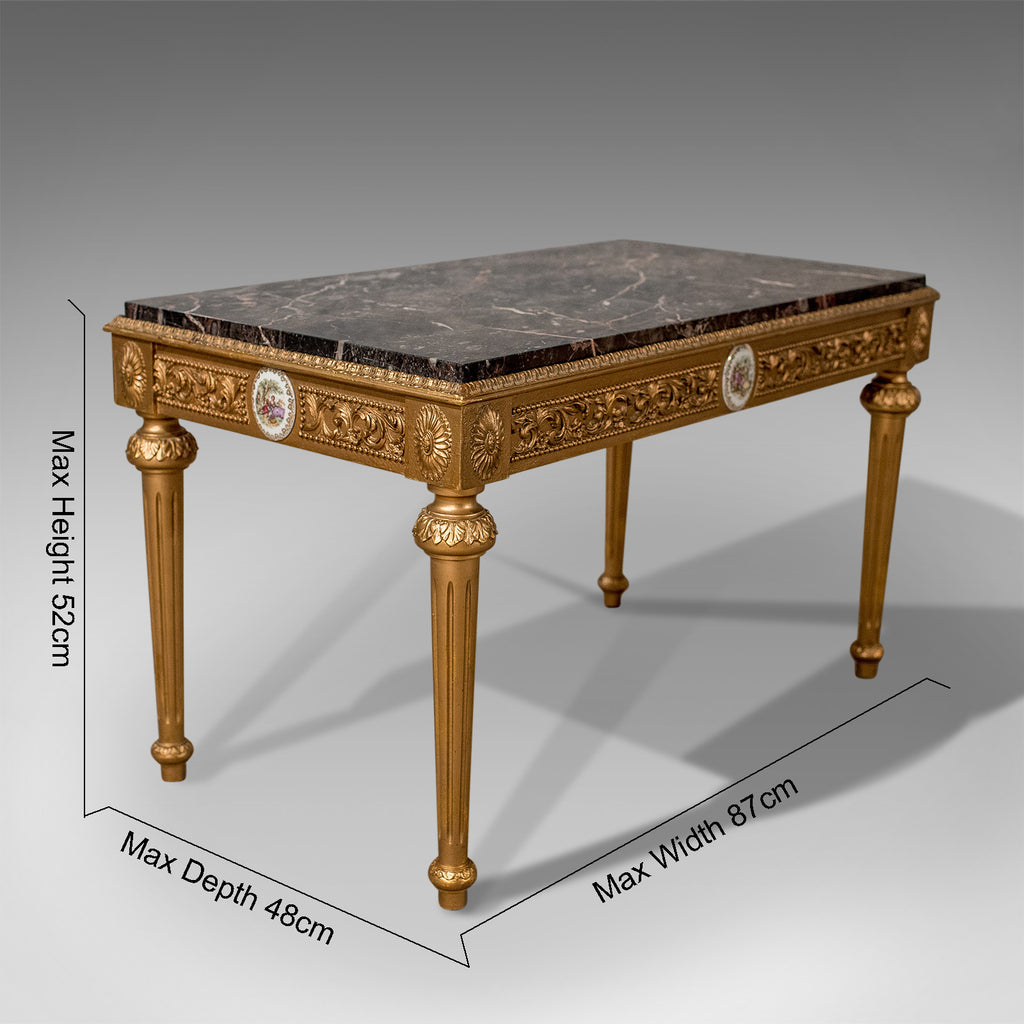 Mid-Century Coffee Table, French Gilt And Marble Circa