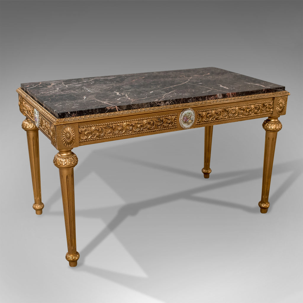 French Gilt Coffee Table: Mid-Century Coffee Table, French Gilt And Marble Circa
