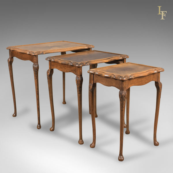 Mid-Century Nest of Three Tables, English, Mahogany
