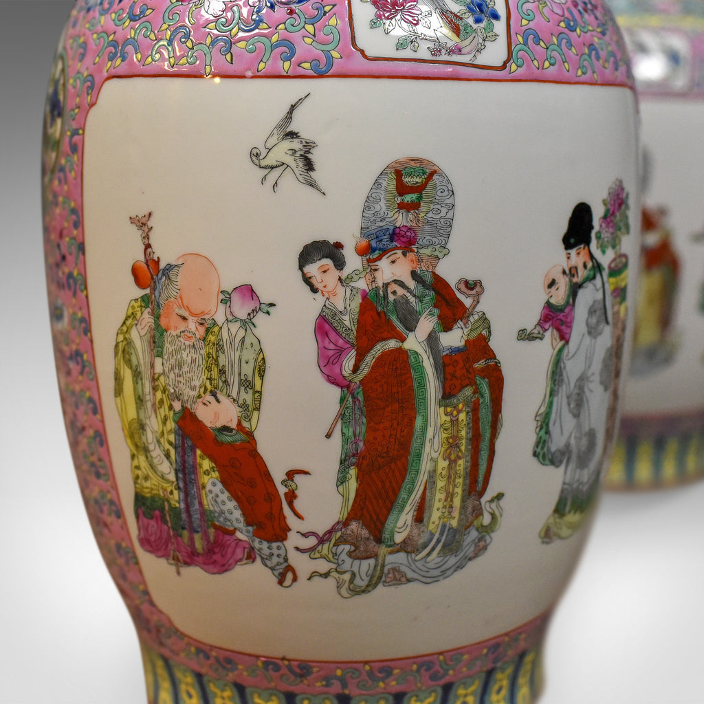 Mid century pair of chinese baluster vases hand painted ceramic mid century pair of chinese baluster vases hand painted ceramic urns reviewsmspy