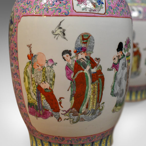 Mid-Century Pair of Chinese Baluster Vases, Hand Painted Ceramic Urns - London Fine Antiques