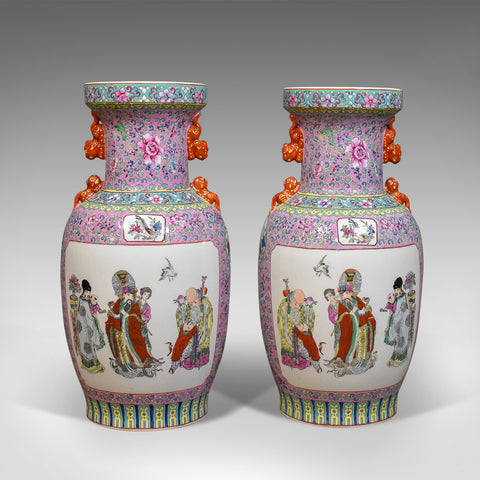Mid-Century Pair of Chinese Baluster Vases, Hand Painted Ceramic Urns