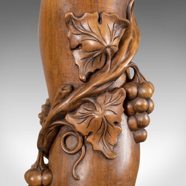 Mid-Century Plant Stand, English, Mahogany, Torchere Pedestal, Carved Grape Vine