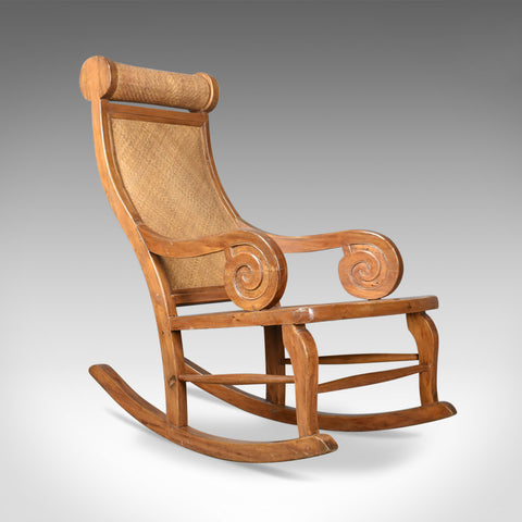 Mid-Century Vintage Rocking Chair, Hardwood, Rattan, Recliner, Circa 1970 - London Fine Antiques