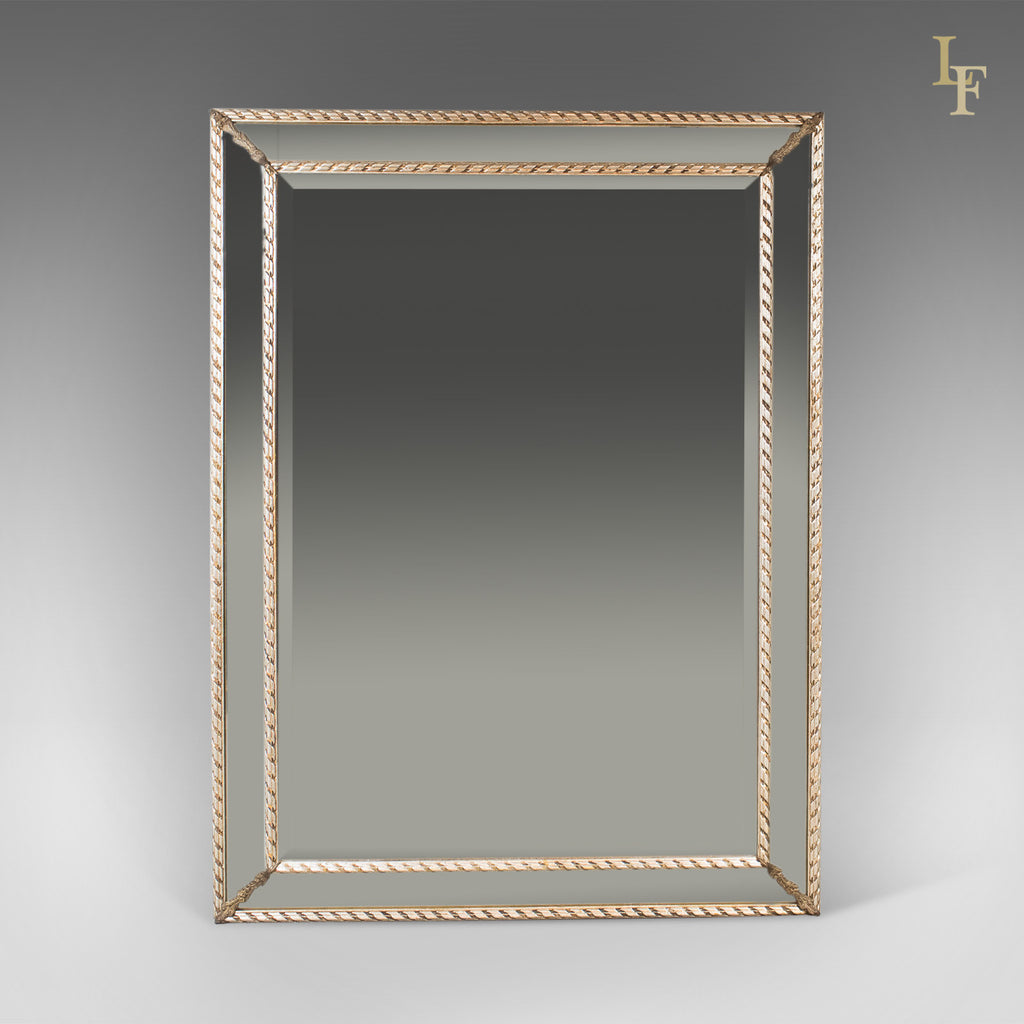 Georgian Revival Wall Mirror, Cushioned Overmantle C20th - London Fine Antiques