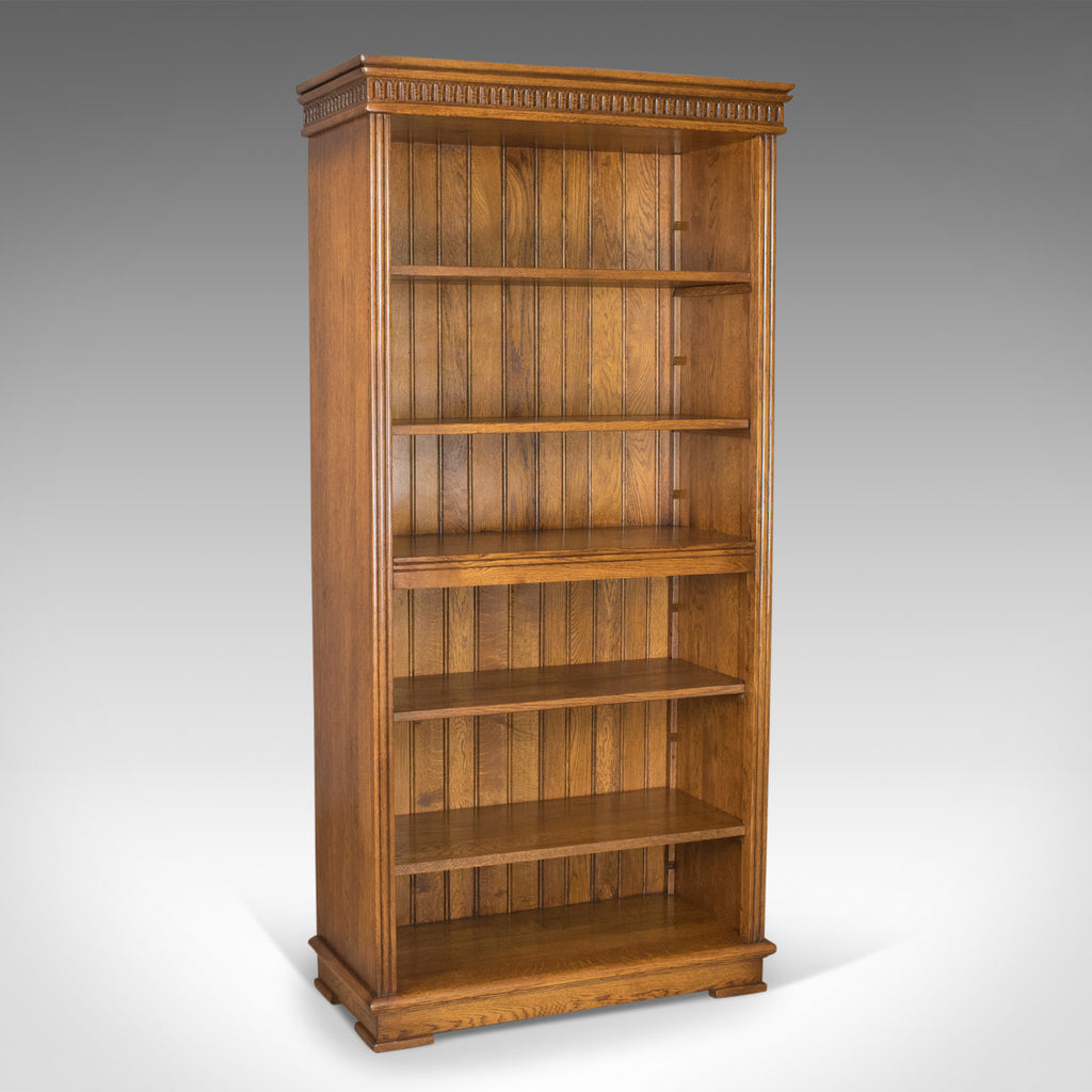 Mid-Sized, Tall, Open Bookcase, Oak, Gothic Overtones 20th Century