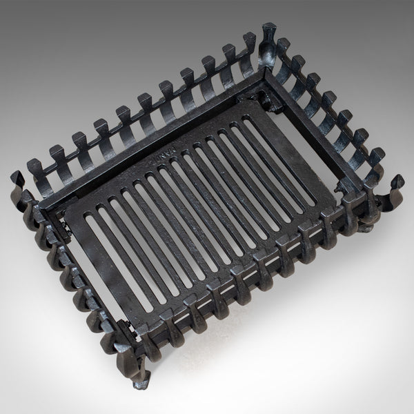 Mid-Sized Vintage Fire Basket, Fireplace Grate, Iron, Mid 20th Century