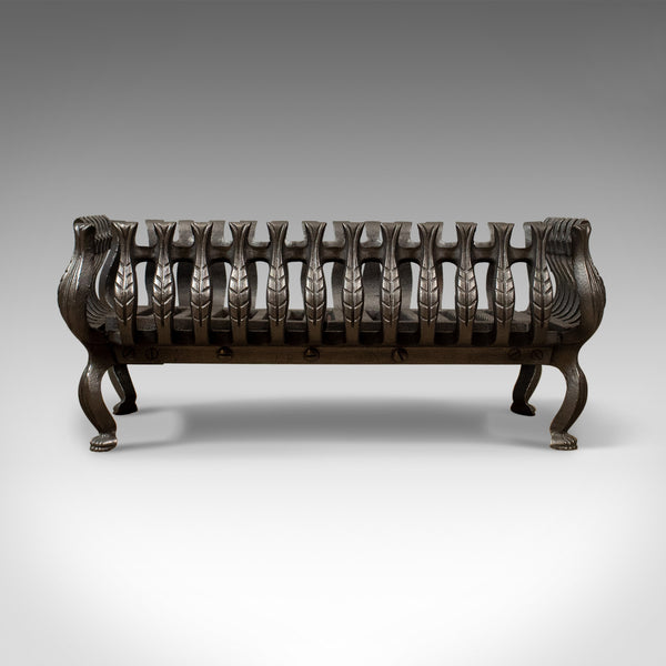 Mid-Sized Vintage Fire Basket, Fireplace Grate, Iron, Late 20th Century