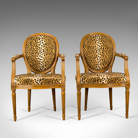 Mid 20th Century Pair of French Open Armchairs, Louis XVI Taste, Leopard Skin