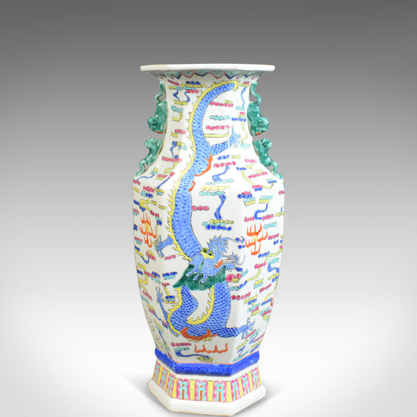 Mid 20th Century, Chinese, Hexagonal, Baluster Vase, Oriental Ceramic Urn - London Fine Antiques