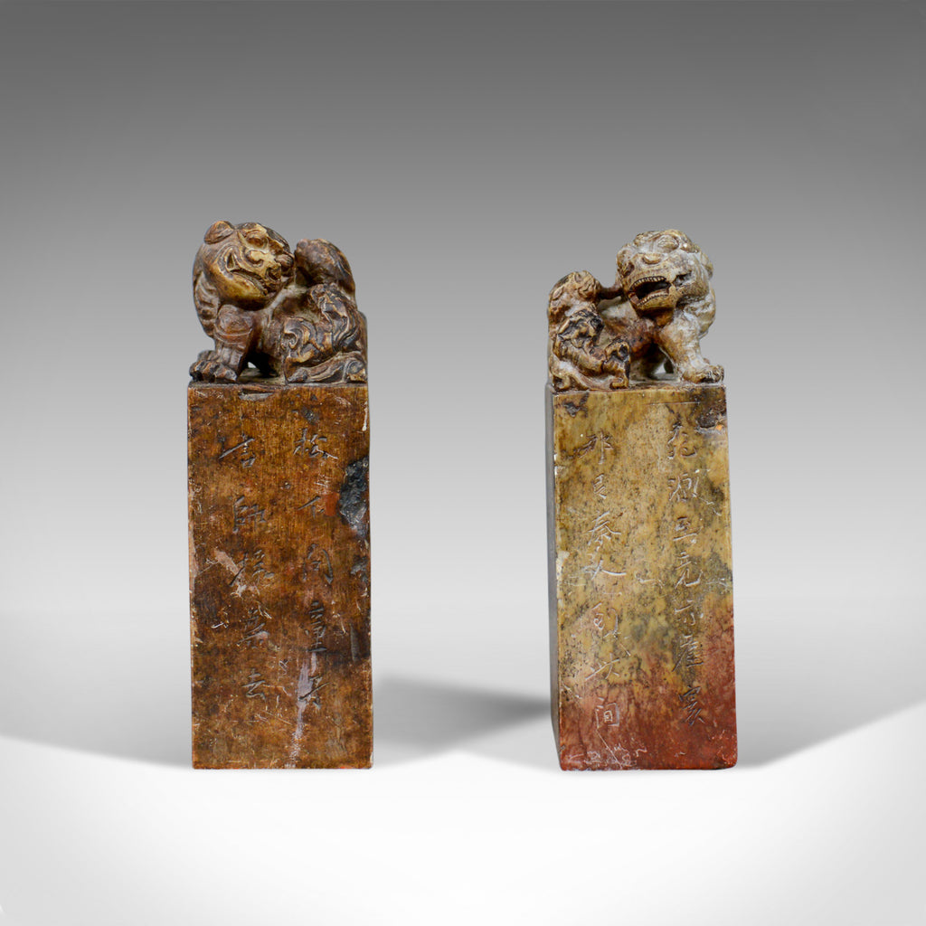 Opposing Pair of Chinese Soapstone Seals, Dogs of Foo, Bookends 20th Century - London Fine Antiques