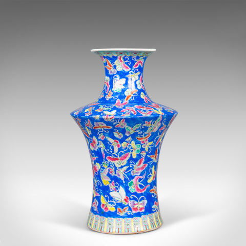 Oriental Flower Vase, Decorative, Ceramic, Butterflies, 20th Century - London Fine Antiques