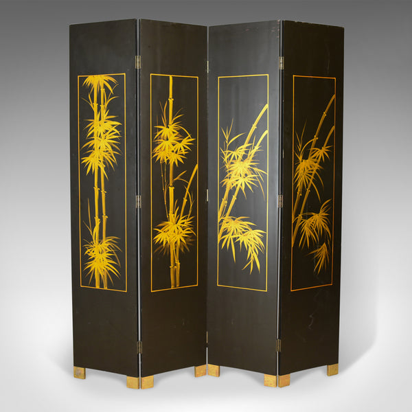 Oriental Four Panel Folding Screen, Double Sided Room Divider, Partition, C20th - London Fine Antiques