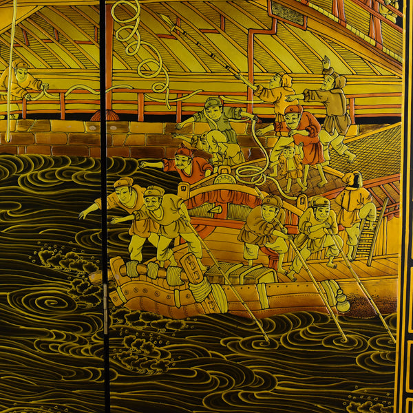 Oriental Four Panel Folding Screen, Double Sided Room Divider, Partition, C20th