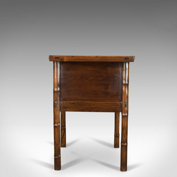 Oriental Side Table, Chinese Elm Cabinet, Late 20th Century - London Fine Antiques