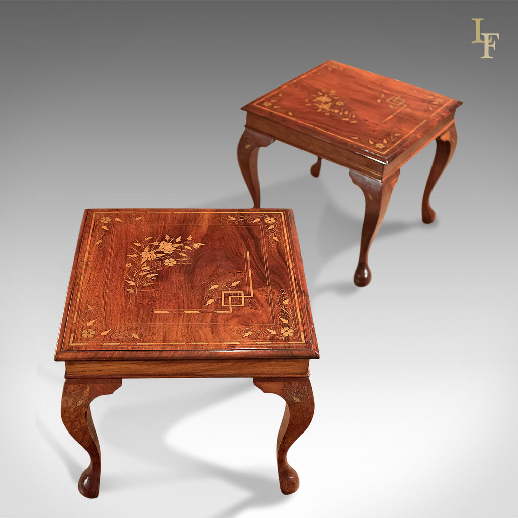 a pair of midcentury side tables inlaid asian walnut london fine antiques