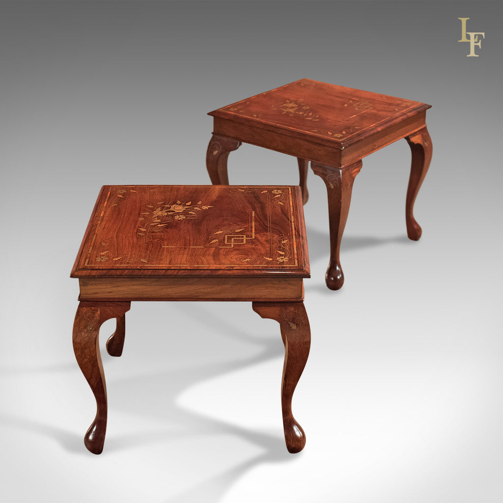 A Pair Of Mid Century Side Tables, Inlaid Asian Walnut   London Fine  Antiques