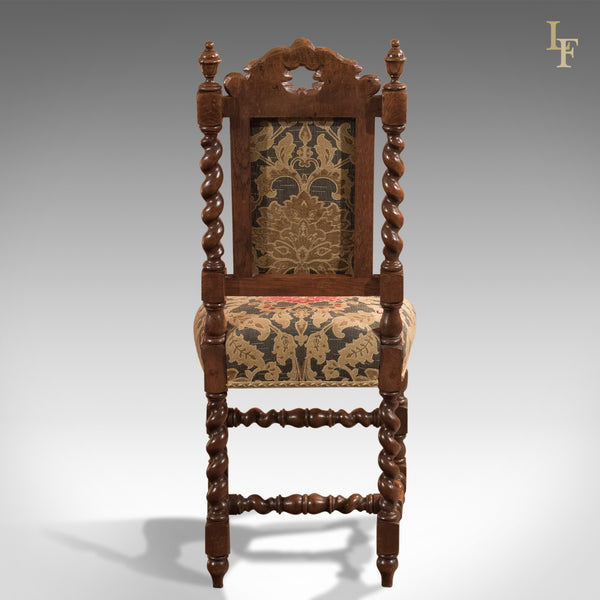 Pair of Antique Hall Chairs, Victorian, Oak, Needlepoint c.1870 - London Fine Antiques