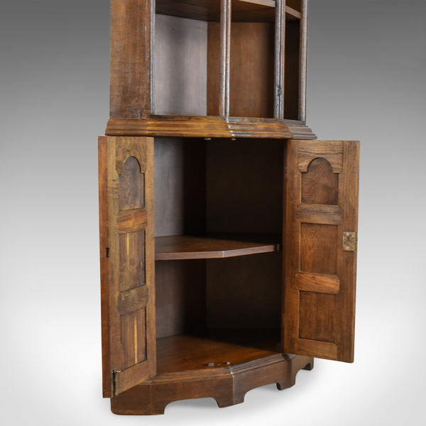 Pair Of Tall, Mid 20th Century Corner Cabinets, Gothic Taste, English, Oak - London Fine Antiques