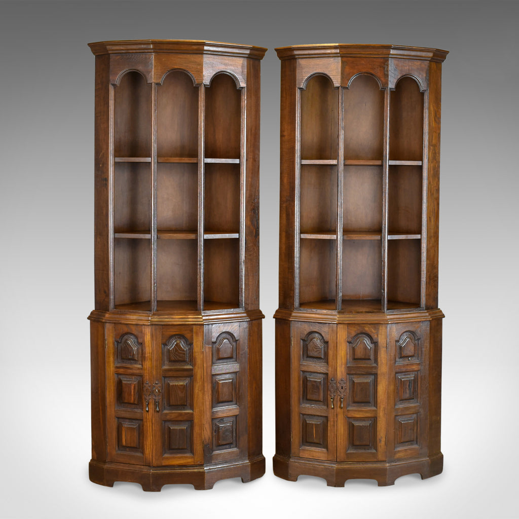 Pair Of Tall, Mid 20th Century Corner Cabinets, Gothic Taste, English, Oak