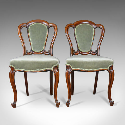 Pair of Antique Chairs, English, Victorian, Dining, Side, Mahogany, Circa 1840