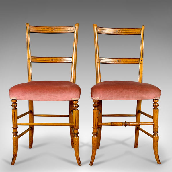 Pair of Antique Chairs, Upholstered, Victorian, English, Walnut, Side Circa 1880