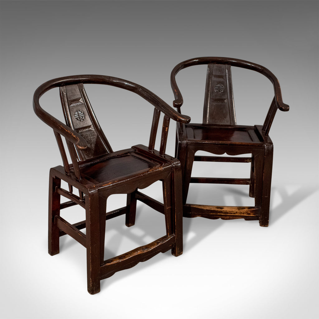 Pair of Antique Chinese Elbow Chairs, Oriental, Carver, Armchair, Circa 1890 - London Fine Antiques