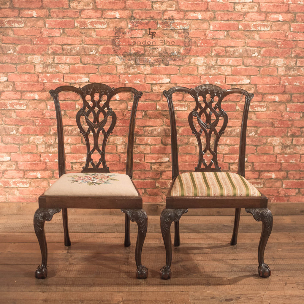 Pair of Antique Dining Chairs, Victorian after Chippendale - London Fine  Antiques - Pair Of Antique Dining Chairs, Victorian After Chippendale