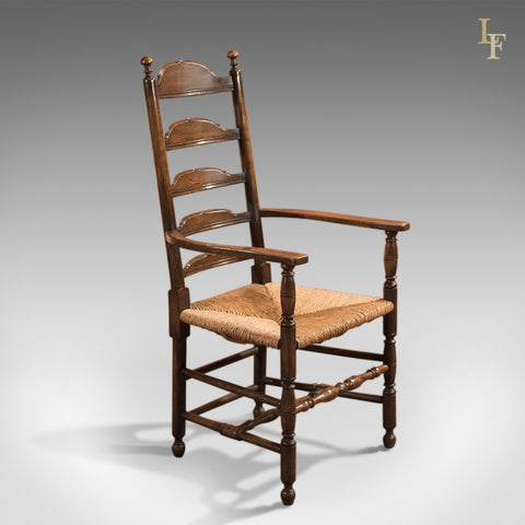 Antique Elbow Chair, Dining Ladderback c.1900 - London Fine Antiques