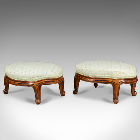 Pair of Antique Foot Stools, English, Victorian, Carriage Rests, Walnut, c.1890