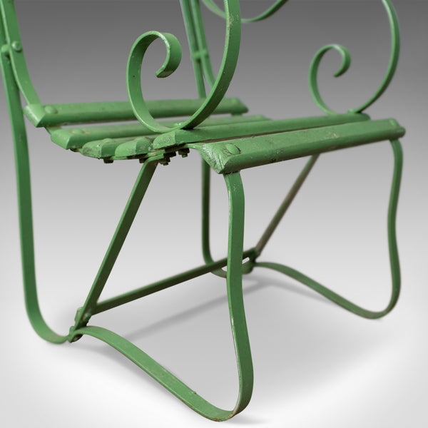 Pair of Antique Garden Chairs, Painted, English Victorian, Iron, Hardwood c1880