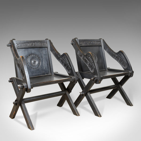Pair of Antique Glastonbury Chairs, English, Tudor Revival, Carved Hall, c1900
