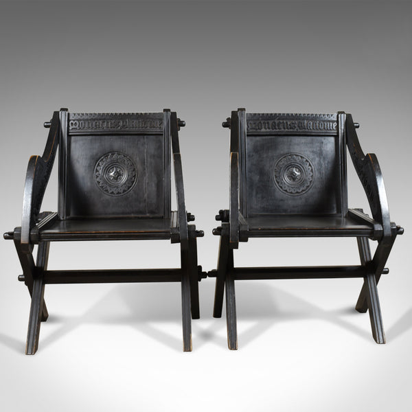 Pair of Antique Glastonbury Chairs, English, Tudor Revival, Carved Hall, c1900 - London Fine Antiques