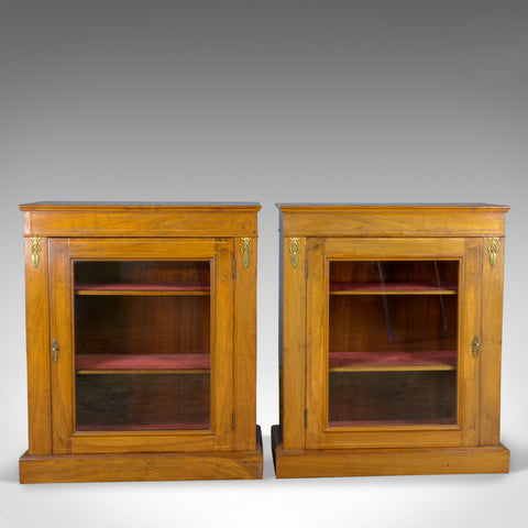 Pair of Antique Pier Cabinets, English, Walnut, Edwardian, Regency Revival c1910